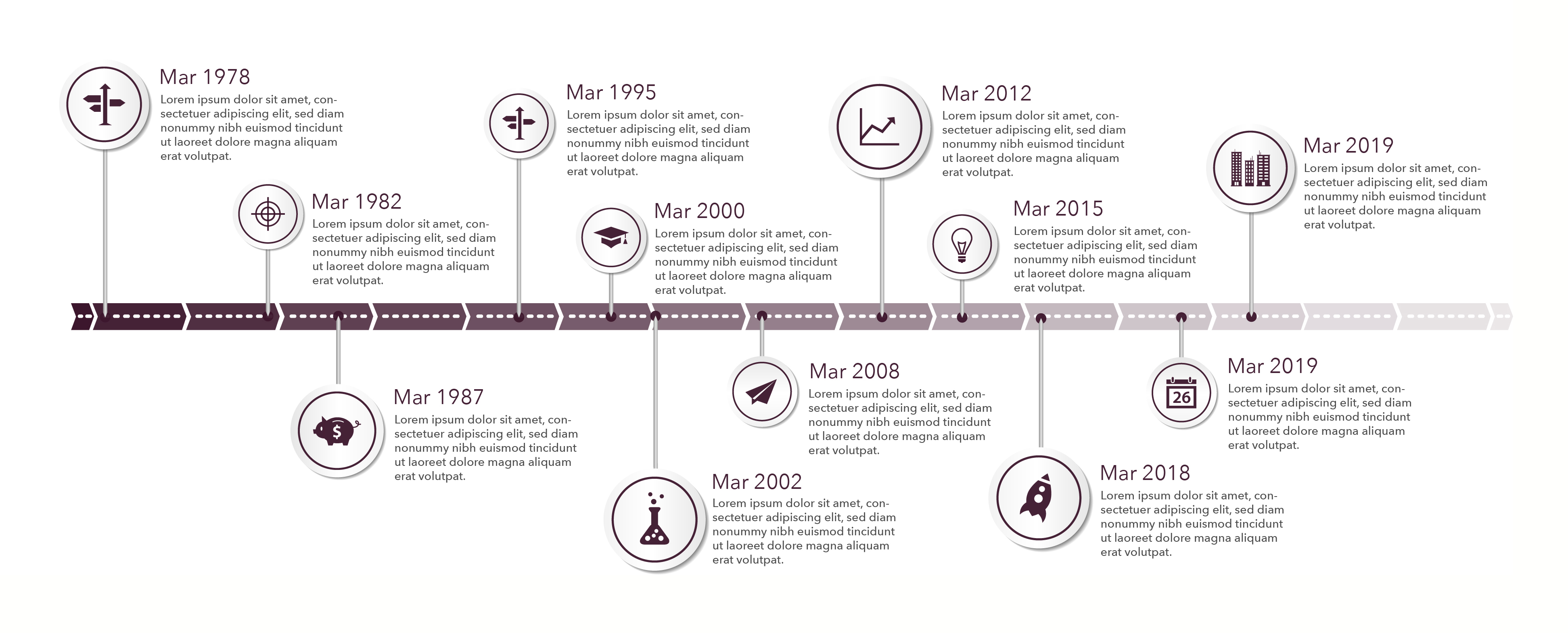 Timeline template in sticker style with set of icons. Light back